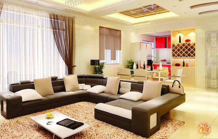 feng shui wohnzimmer, ecksofa in weiß und schwarz, teppich