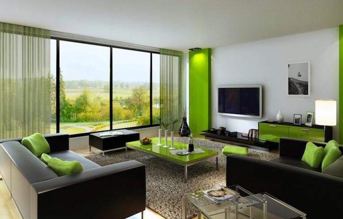 Feng Shui Farben, Wohnzimmer, Dunkelbraunes Sofa Mit Grünen Dekokissen