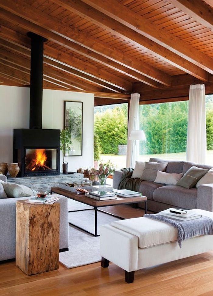 feng shui wohnzimmer, kamin, graues sofa, eckiger kaffeetisch, gardinen