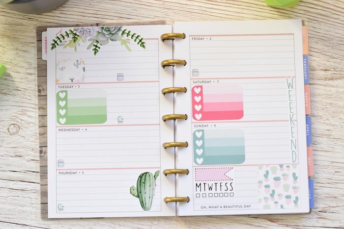 Filofaxing einen Zeitplan mit grünen, rosa und blauen Aufkleben in Herzen, kleines Kaktus