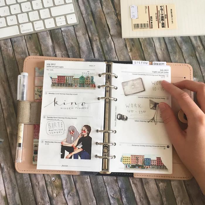 Filofax DIY kleine Elemente aus einer Zeitschrift ausgeschnitten und schön geordnet