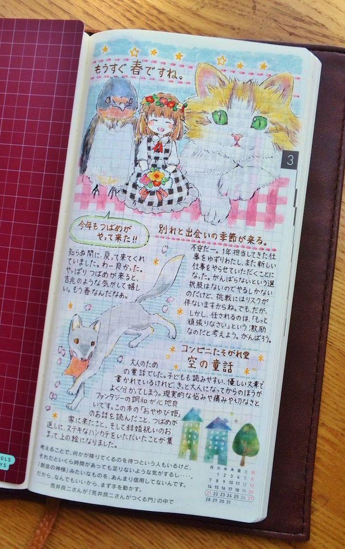 aus der Geschichte von Däumelinchen Filofax dekorieren in anime Stil Vögel und Katze