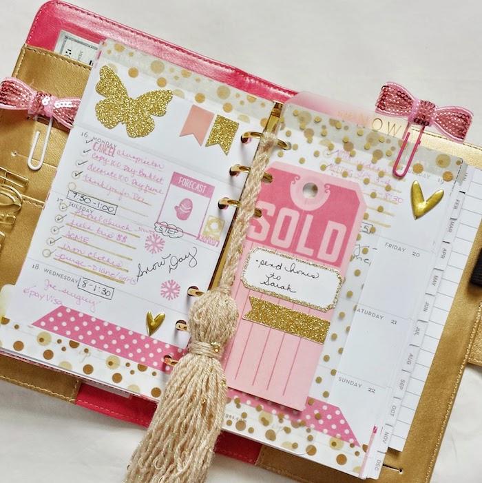 goldene und rosa Farben, verschiedene Figuren eine goldene Quaste - Filofax dekorieren