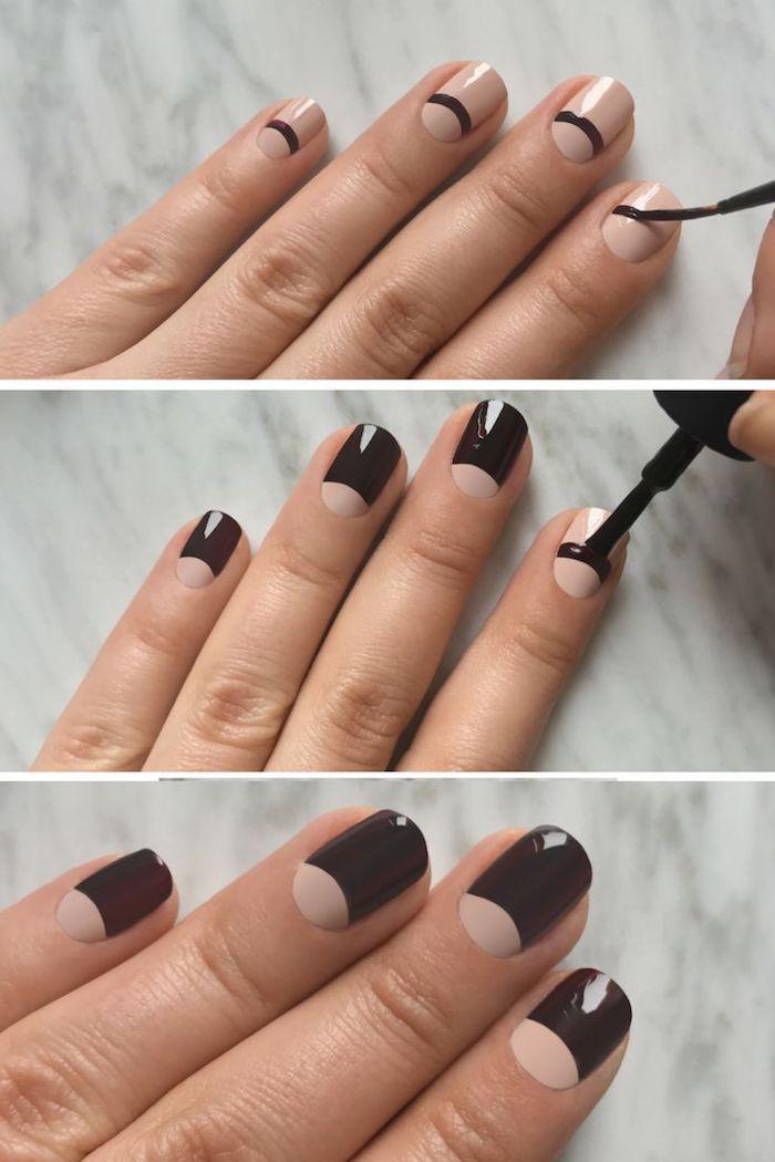 nailart bilder, maniküre in schwarz und beige, nägel lackieren