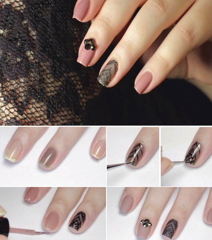 fingerngel muster selber machen ngel lackieren schwarze spitze - Nagel Lackieren Muster