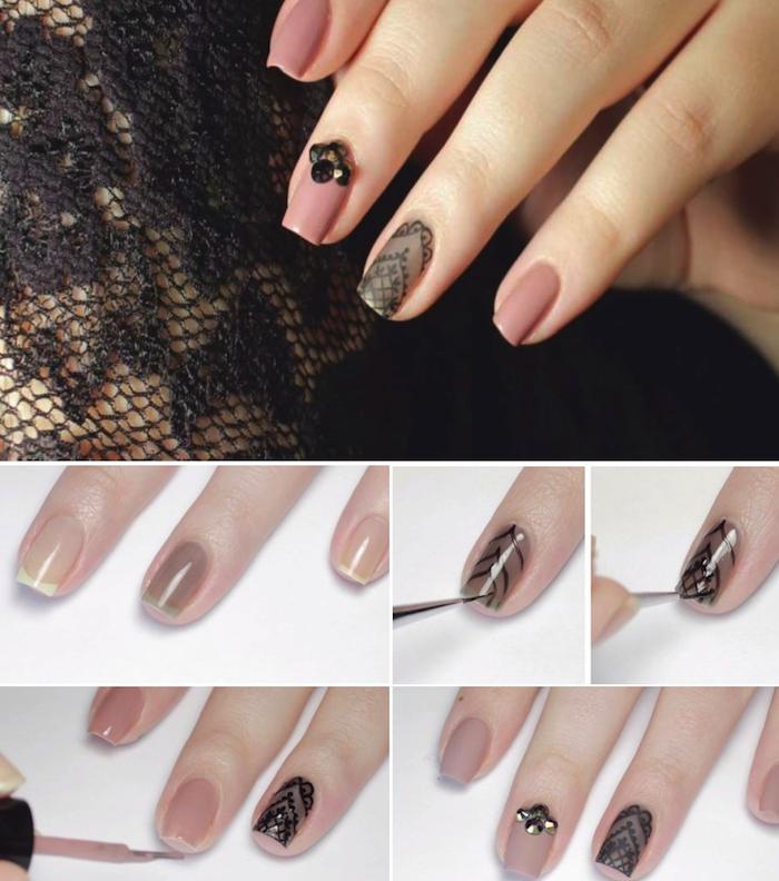 fingernägel muster selber machen, nägel lackieren, schwarze spitze