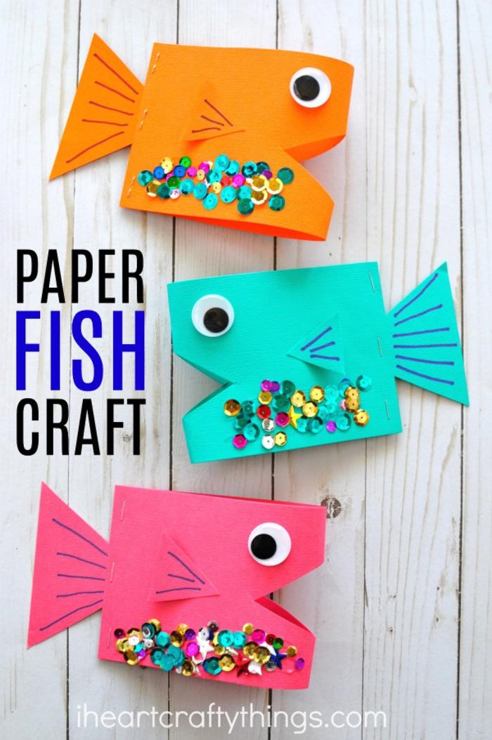 bunte Fische aus Papier basteln, lustige DIY Projekte für Kinder zum Nachmachen