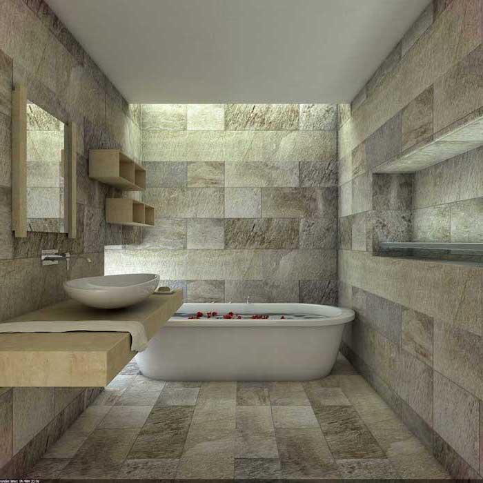 bunte Fliesen im Badezimmer Design Fußboden weiße Badewanne und moderner Waschbecken