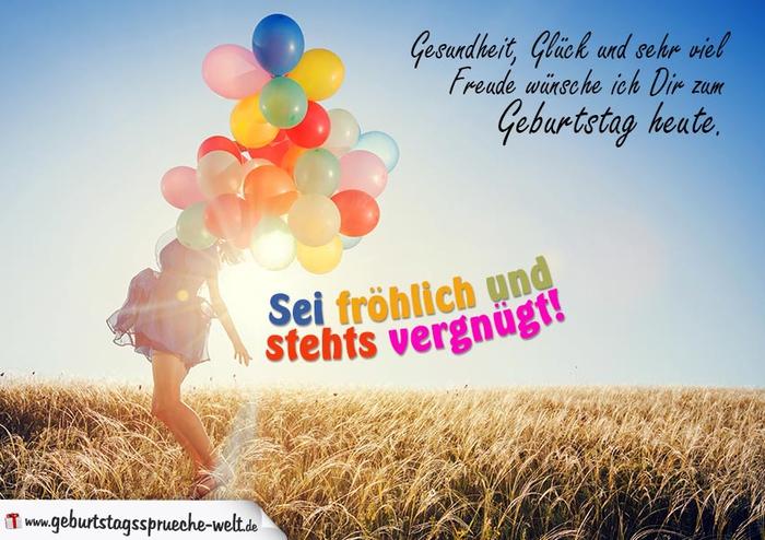 fröhliche Geburtstagskarte, Mädchen mit bunten Ballons, Gesundheit, Glück und sehr viel Freude