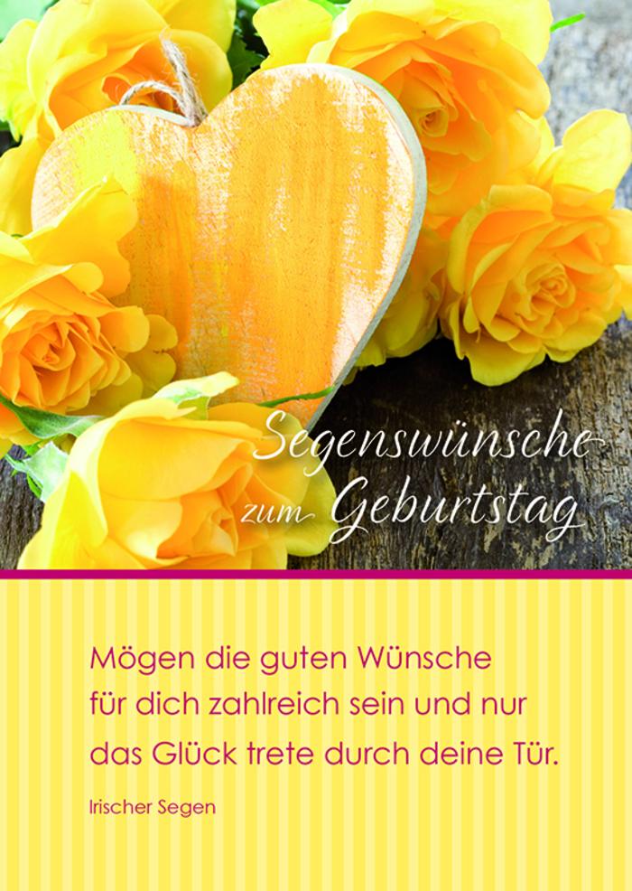 wunderschöne Geburtstagskarte mit gelben Rosen , Segenswünsche zum Geburtstag