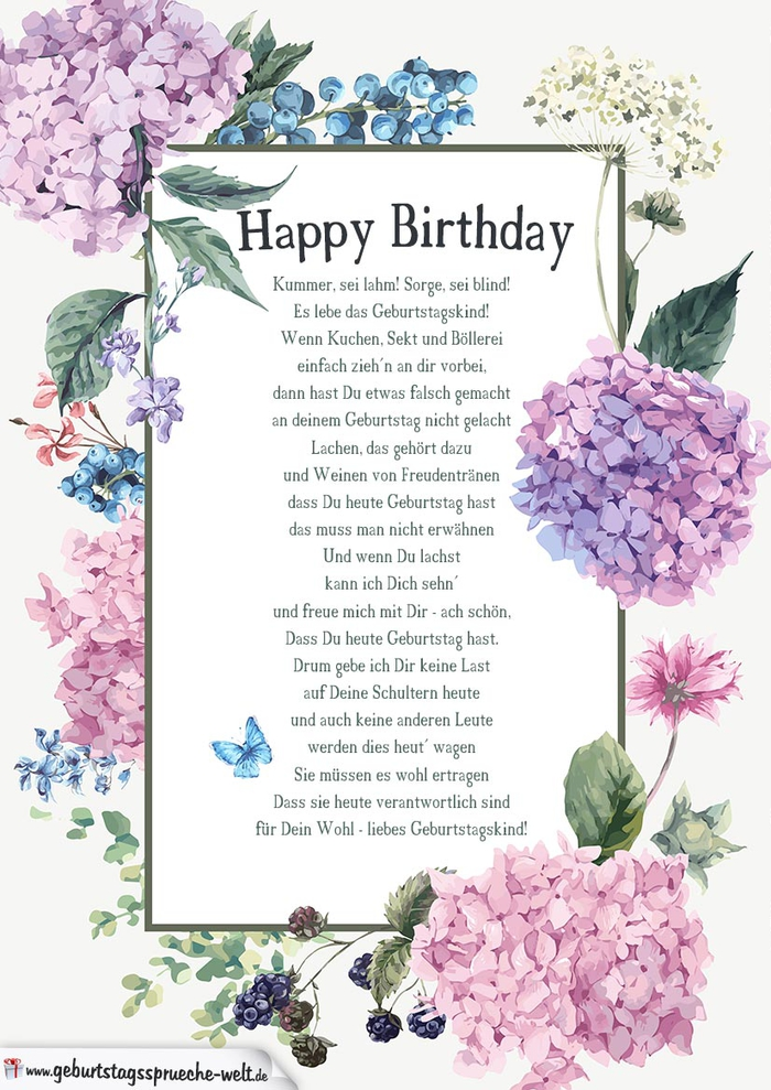 wunderschöne Geburtstagskarte mit Blumen und Schmetterlingen, ein Gedicht zum Geburtstag