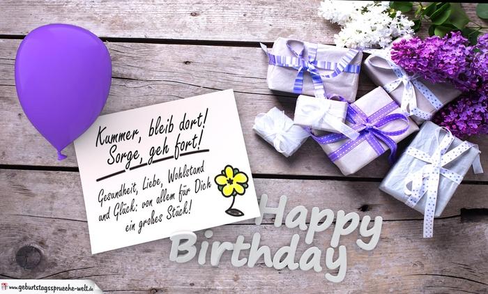 Geburtstagsglückwünsche, kleine Geschenke, ein Ballon und Flieder, lila Thema