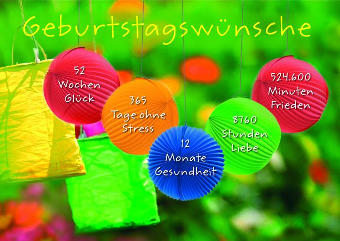 fröhliche Geburtstagskarte mit Wünschen: Glück, Tage ohne Stress, Gesundheit, Liebe und Frieden