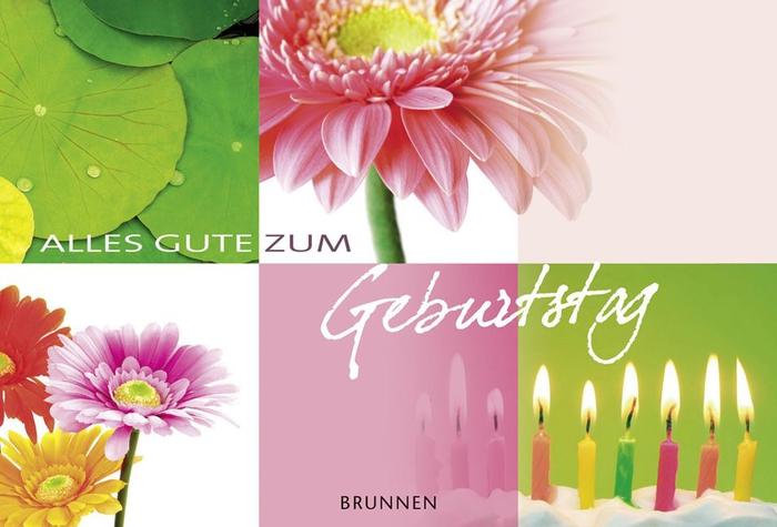 fröhliche Geburtstagskarte mit Blumen und Kerzen, alles Gute zum Geburtstag, Geburtstagsglückwünsche