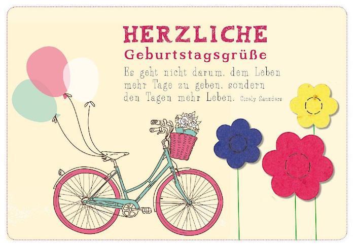 Gratulationskarte mit drei Blumen in Dunkelblau, Gelb und Pink