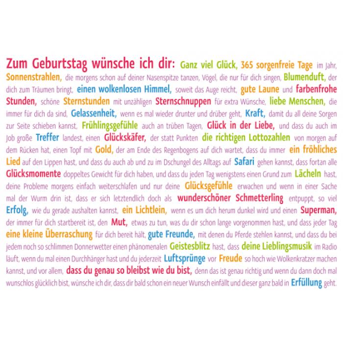 Wunschkarte mit einer langen schönen Botschaft zum Feier