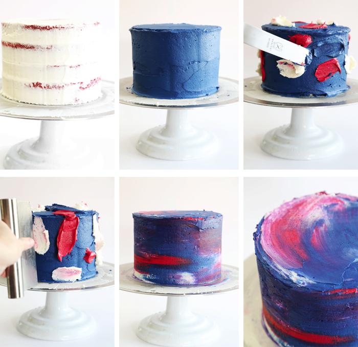 geburtstagskuchen backen und dekorieren, torte im wasserfarben-look selber machen