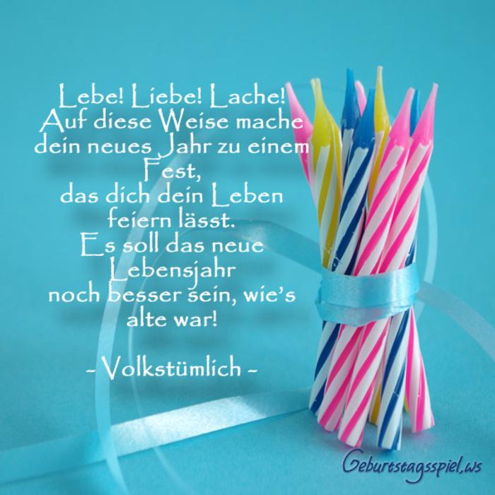 schöne Geburtstagskarte mit Glückwünschen, lebe, liebe, lache, ein besseres Lebensjahr