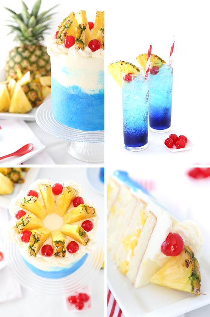 hawaii party, geburtstagstorte mit ananas und kirschen, torte mit obst