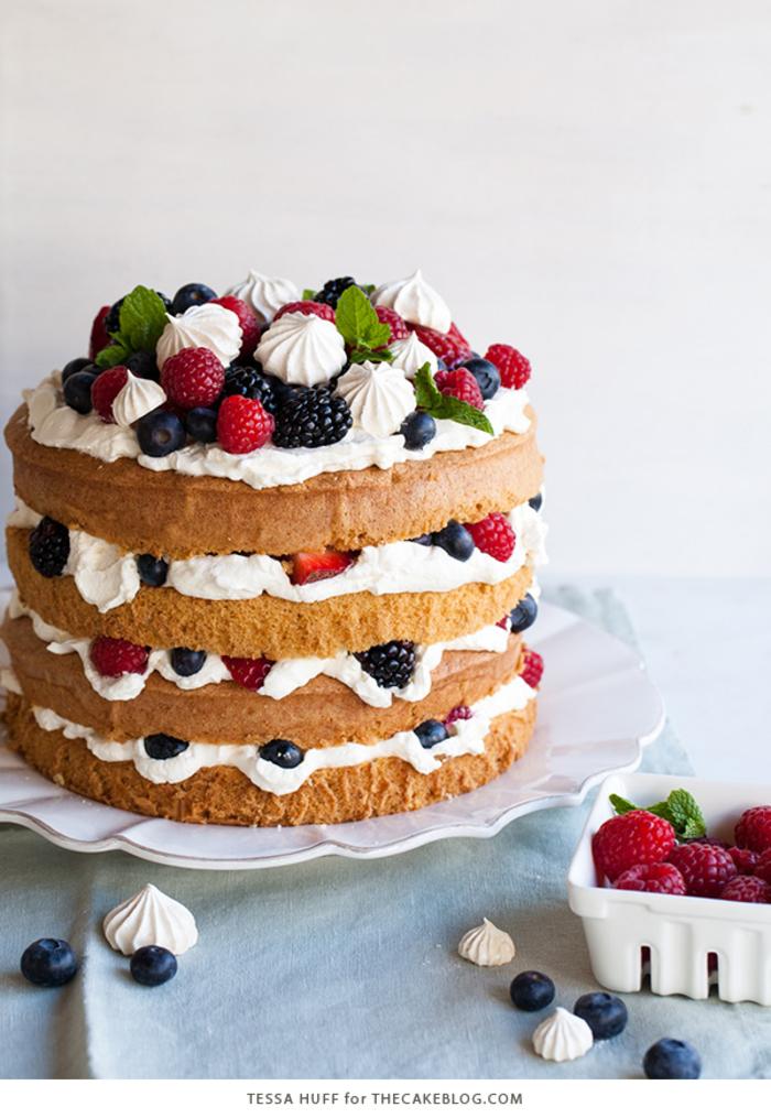 Geburtstagstorte mit Sahne, Beeren und Minzblättern selber zubereiten, eine unvergessliche Party organisieren