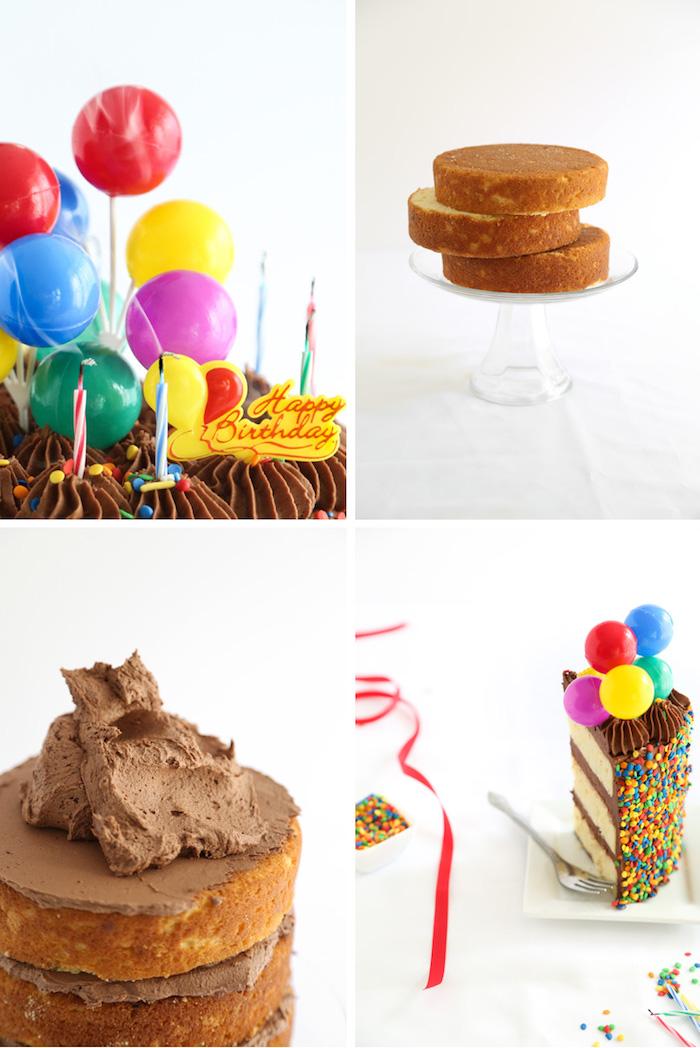 geburtstagstorte mit schokoladenglasur, ballons und streuseln dekorieren