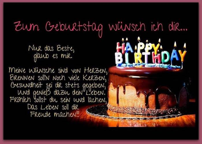 Wunsch zum Wiegenfest, Torte mit Schokoglasur, Happy-Birthday-Kerzen