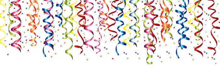 Konfetti, Konfetti-Party, Schleifen, Party-Schleifen in verschiedenen Farben