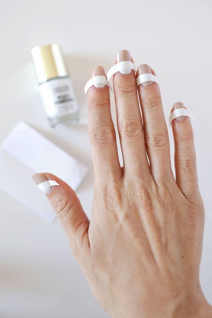 gelnägel bilder, fingernägel lackieren, weißer nagellack, diy