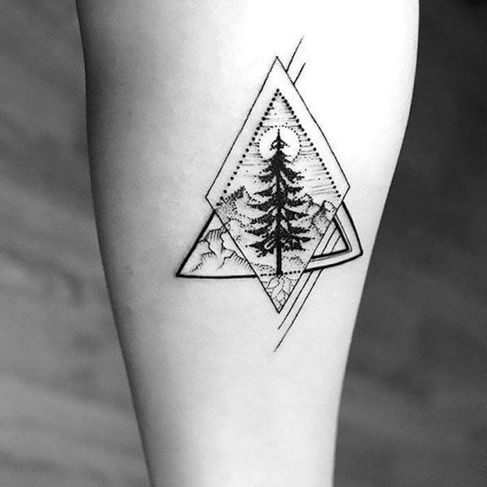 Tattoo Motive, Wald und Gebirge, Nadelbaum, Pyramide, Rhombus