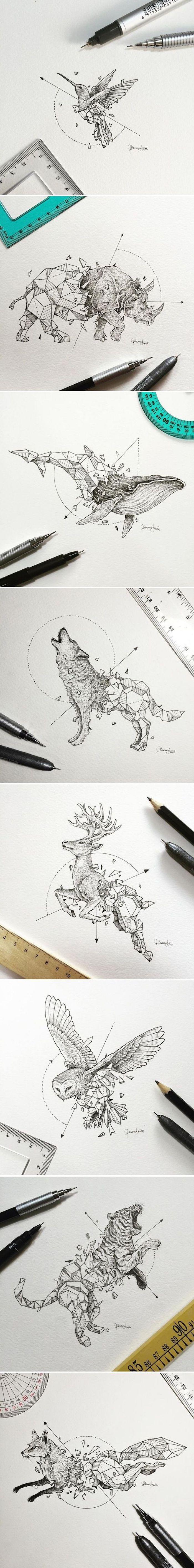 Tattoo Ideen, Tier-Tattoo, Kolibri, Wolf, Eule, Fuchs, Wal, Einhorn, Tiger, Hirsch