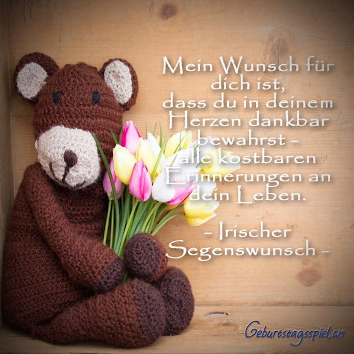 mein Wunsch für dich an diesem Tag, Kuscheltier-Bär, Tulpenstrauß