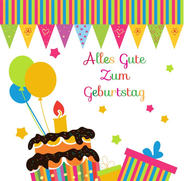 Geburtstagskarte in grellen Farben, Torte, Geschenke und Ballons, alles Gute zum Geburtstag