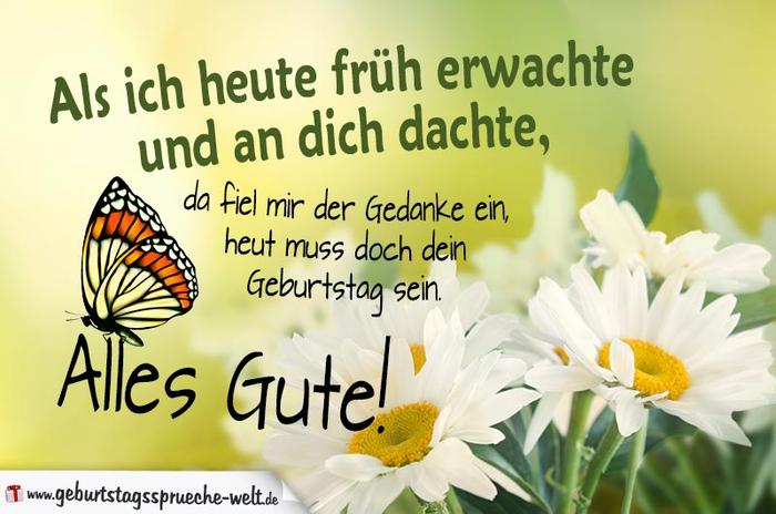 schöne Geburtstagskarte mit Margeriten und Schmetterling, alles Gute, heut muss doch dein Geburtstag sein