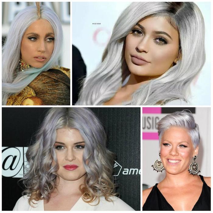 haare tönen, graue lockige haare, große ohrringe mit kristallen