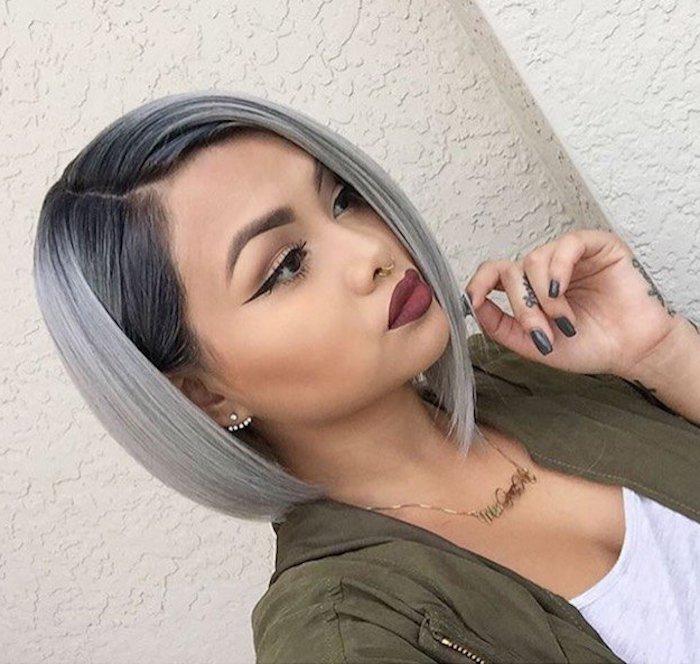 braune haare grau färben, bob-frisur im ombre look, grüne jacke