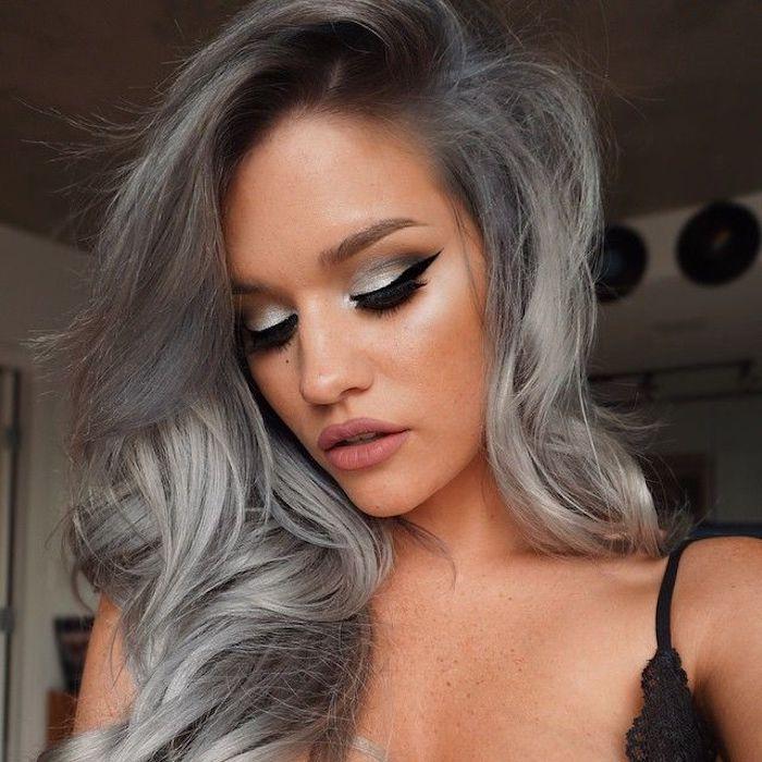 graues augen maku-up, graue tönung, lockige lange haare