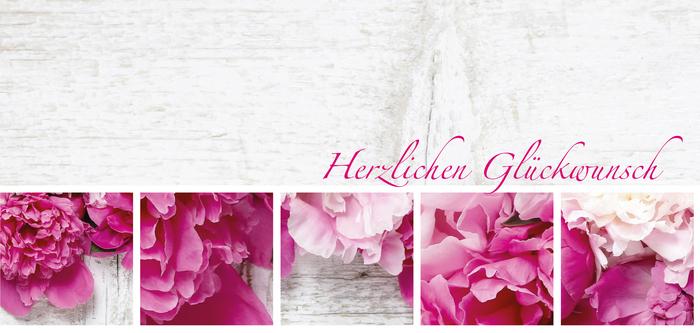 zarte Geburtstagskarte mit rosa Blumen, herzlichen Glückwunsch zum Geburtstag