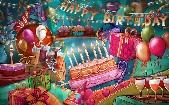 viele schöne Geschenke in buntem Geschenkpapier, Geburtstagsfeier