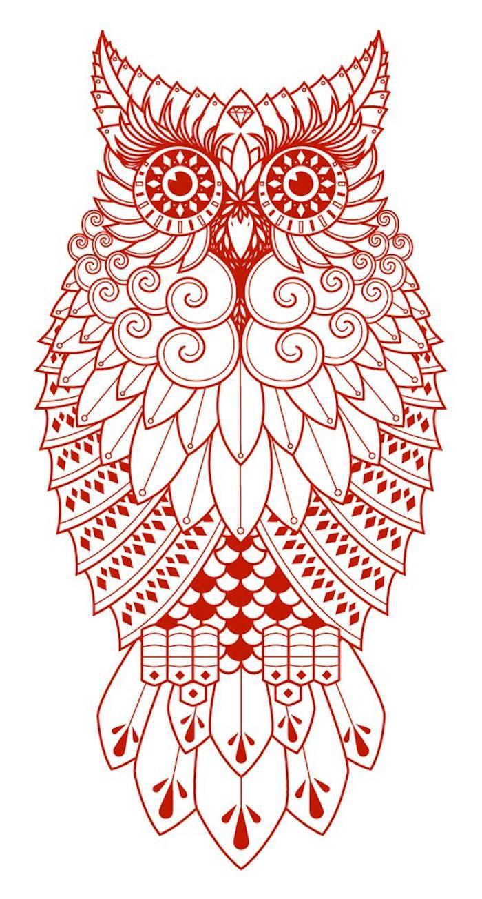 werfen sie einen blick auf diese idee für einen roten tattoo mit einer roten eule mit roten augen
