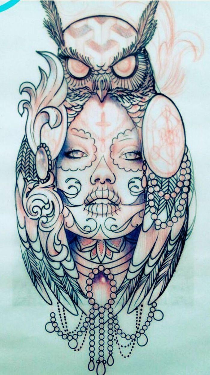 noch eine tolle idee für einen tattoo owl mit einem unu und einer jungen schönen frau