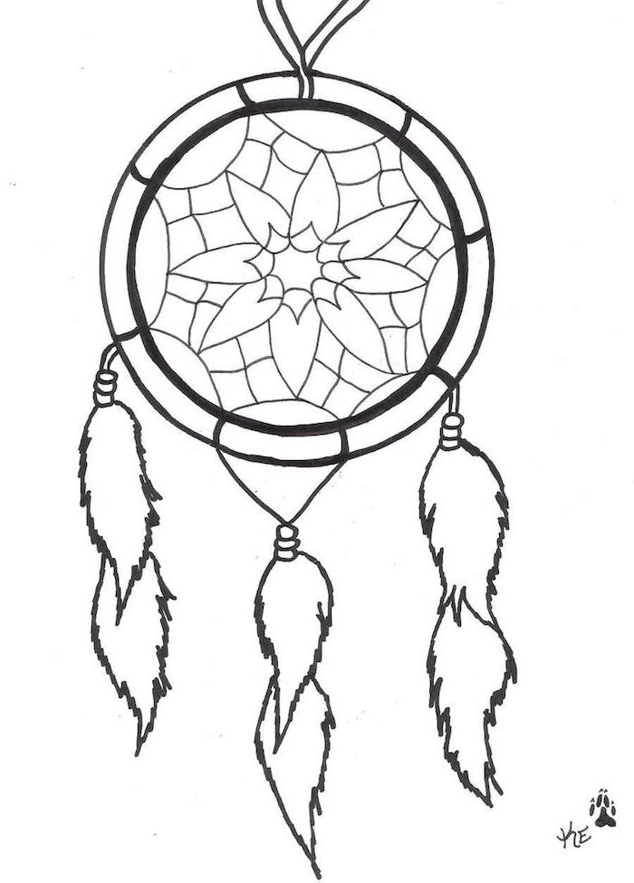 werfen sie einen blick auf diese idee für einen tattoo mit einem tollen traumfänger mit weißen federn
