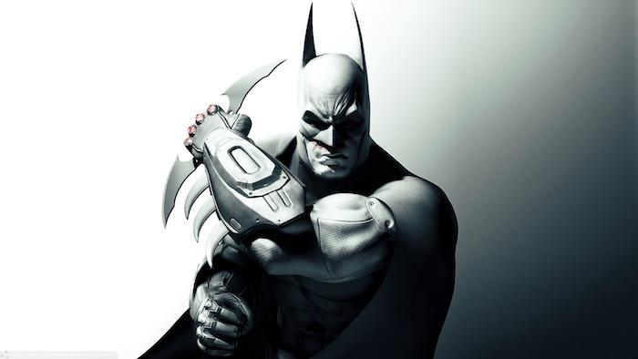 das ist ein schwarzer schöner batman mit einem tollen und sehr schön aussehenden schwarzen kostüm