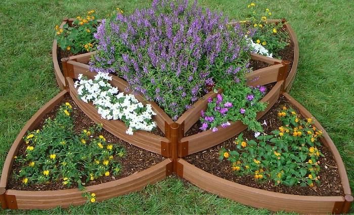 ausgefallene Form von Hochbeet mit Lavendel und gelben und weißen Blumen
