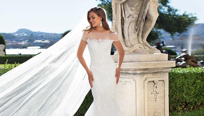 hohczeitskleid, meerjungfrauenkleid in weiß mit spitze, schleier, braut, brautkleid