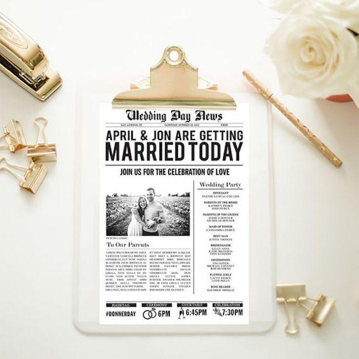 Hochzeitszeitung für ein liebevolles Paar ein Foto auf der Wiese und eine große Schlagzeile