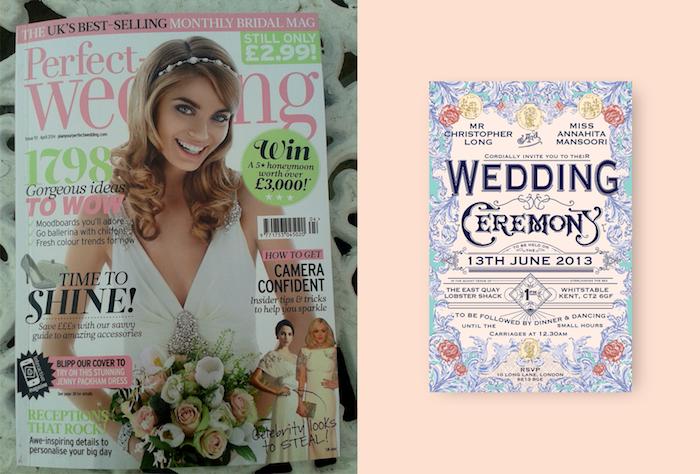 die perfekte Hochzeit Hochzeitszeitungen mit dem Foto von dem Braut mit Brautstrauß