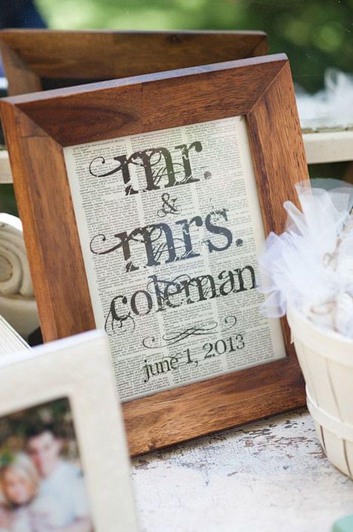 ein Bilderrahmen aus Holz mit Hochzeitszeitungen darin und die Familie von dem Neuvermählten