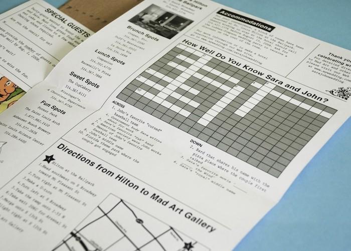 ein Kreuzworträtsel als Hochzeitszeitung Ideen wie gut Sie das Brautpaar kennen