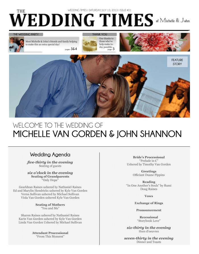 Hochzeitszeitung Ideen die Zeitung im Internet selber erstellen und ausdrucken