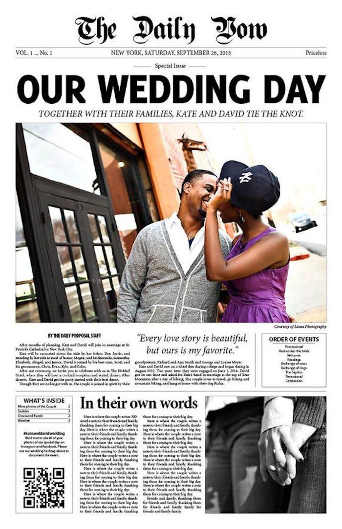 Lustige Hochzeitszeitung Ideen - ein großes Foto von Brautpaar und Schlagzeile Unser Hochzeitstag